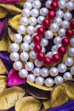 Pearl Necklace and Dry Leaves stock photo
