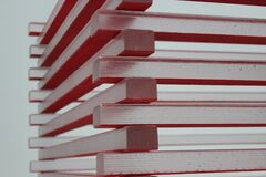 White and Red Piled Sticks Stock Photo