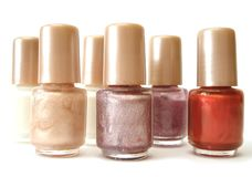 White,red and pink nailpolish royalty free stock photo