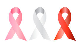 White, red and pink social ribbons. Vector illustration with three ribbons, the pink one to support women with breast cancer diseases, the white against war and Royalty Free Stock Image