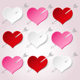 White red and pink valentine hearths with arrow from paper decoration element eps10 Stock Photography