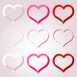 White red and pink valentine hearths border decoration element eps10 Royalty Free Stock Image