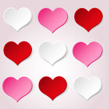 White red and pink valentine hearths from paper decoration element eps10 Stock Image