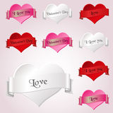 White red and pink valentine hearths and ribbon from paper decoration element eps10 Stock Photography