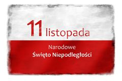 Polish flag with the inscription 4. White and red Polish flag painted on a wall with the inscription 11 November National Independence Day - in Polish royalty free illustration