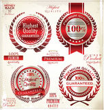 White and red Premium Quality Labels Royalty Free Stock Photos