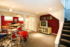 White and red rehearsal basement room Stock Photos