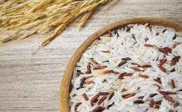 White and red rice on the wooden plate and rice plant Royalty Free Stock Photos