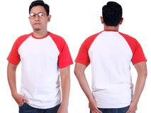 White Red Ringer Shirt Mockup Template. Blank tshirt mock up, front and back view, isolated on white. Asian male model wear plain red white ringer shirt mockup Stock Images