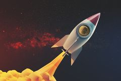 White and red rocket in space, fire. White and red rocket flying in an open space diagonally. 3d rendering mock up. Elements of this image furnished by NASA Stock Photos
