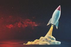 Start blast off a rocket cosmos stock illustration for Space blast 3d