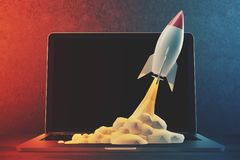 White and red rocket, laptop, space. White and red rocket taking off. A black background and a laptop on a table. 3d rendering mock up. Elements of this image Stock Images