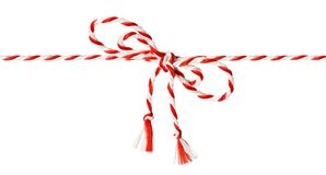 White Red Rope Bow, Twine Ribbon White. White Red Rope Bow  over White Background, Twine Color Ribbon and Tied Knot Stock Photo