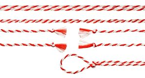 White Red Rope Bow, Twisted Ribbon White Isolated. White Red Rope Bow Isolated over White Background, Twisted Ribbon and Loop Stock Image