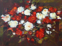 White and Red roses, handmade painting. White and Red roses, handmade oil painting on canvas Stock Photos