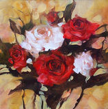 White and Red roses, handmade painting. White and Red roses, handmade oil painting on canvas Stock Image