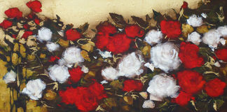 White and Red roses, handmade painting. White and Red roses, handmade oil painting on canvas Royalty Free Stock Images