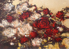 White and Red roses, handmade painting. White and Red roses, handmade oil painting on canvas Stock Photography