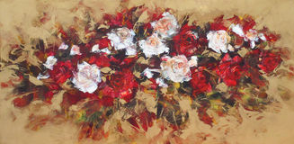 White and Red roses, handmade painting. White and Red roses, handmade oil painting on canvas Royalty Free Stock Photography