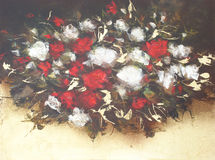 White and Red roses, handmade painting. White and Red roses, handmade oil painting on canvas Stock Images