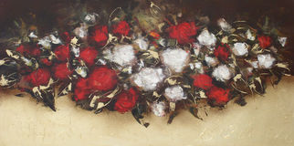 White and Red roses, handmade painting. White and Red roses, handmade oil painting on canvas Royalty Free Stock Image