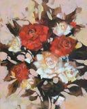White and Red roses, handmade painting. White and Red roses, handmade oil painting on canvas Stock Photo