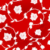 White-on-Red seamless rose sari pattern Royalty Free Stock Photography