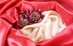 White and red silk background Stock Photography