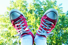 White and Red Sneakers stock photography
