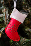 White and Red Stocking Ornament Stock Images