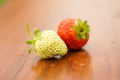 White and red strawberries lie in the sun. Delicious and sweet dessert berry. Vitamins. For your design stock photo