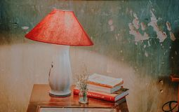 White and Red Table Lamp, Assorted-color Books, and White Petaled Flower in Clear Glass Vase on Brown Wooden End Table royalty free stock photography