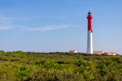 White and red tall lighthouse royalty free stock image