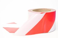 White and red tape. White and red striped band, tape, usually means work in progress Stock Photography