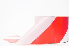 White and red tape. White and red striped band, tape, usually means work in progress Royalty Free Stock Image