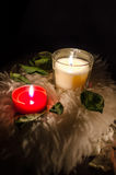 White and Red. Two candles with rose leaves on dark background Royalty Free Stock Photos