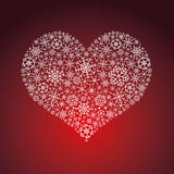 White and red valentine hearth from snowflakes Stock Photography