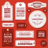 White and Red Vector Christmas Labels Stock Photography