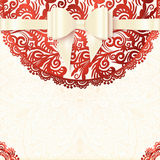 White and red vector vintage lacy wedding card Royalty Free Stock Photo