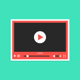 White and red video player interface sticker. Concept of streaming television, communication, tv clip, motion filmstrip.  on green background. flat style Stock Image