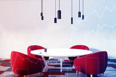 White and red waiting room or a staff room, graph. Office waiting room or a staff room interior with a round table, red comfortable armchairs standing near it, a Royalty Free Stock Images