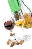 White and red wine. Glasses white and red wine on a white background Stock Photo