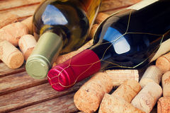 White and red wine bottles royalty free stock photography