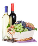 White and red wine bottles and grapes Stock Photo