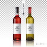 White and red wine bottles isolated on transparent background. Vector 3d detailed mock up set illustration Royalty Free Stock Image