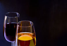White and red wine glass. Isolated over black background Royalty Free Stock Photo