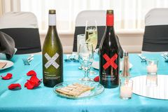 White X and Red X Wine Served at a Wedding Reception royalty free stock photo