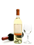 White and red wine with wineglass. Bottles of the white and red wine with wineglass against the white background royalty free stock photography