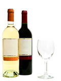 White and red wine with wineglass. Bottles of the white and red wine with wineglass against the white background stock photo