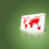 White and red world map chip on green background. White and red world chip on green leaf background, with realistic lighting effect Vector Illustration